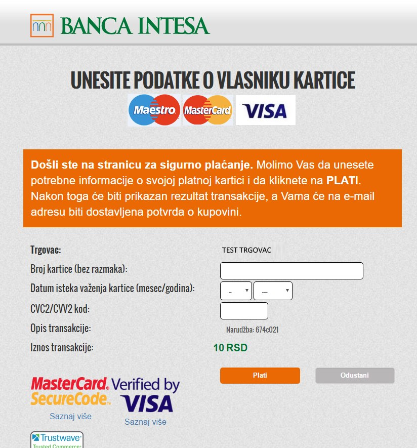 Shopify Banca Intesa NestPay Payment Method